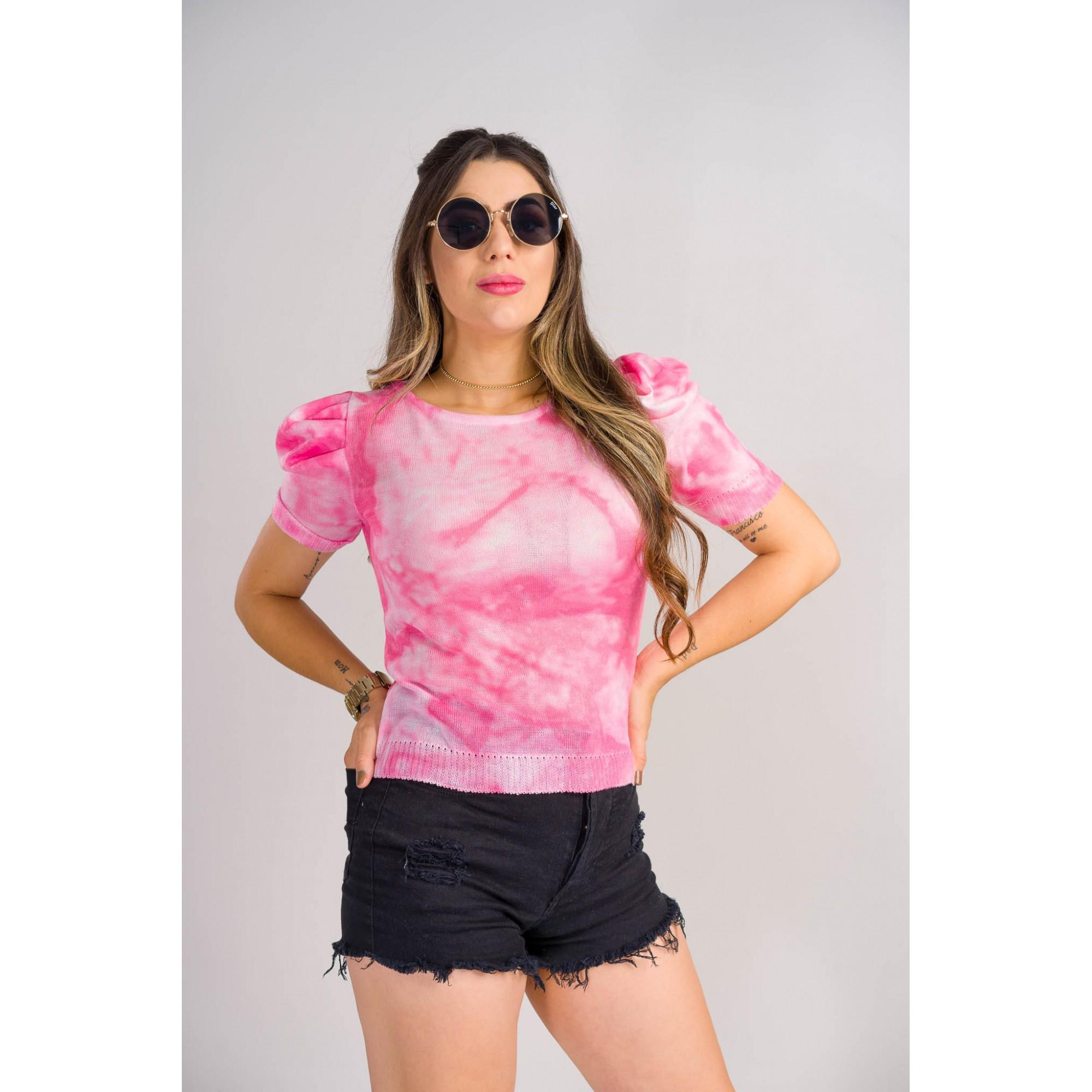 tricot de verão manga bufante blusinha loja do tricô