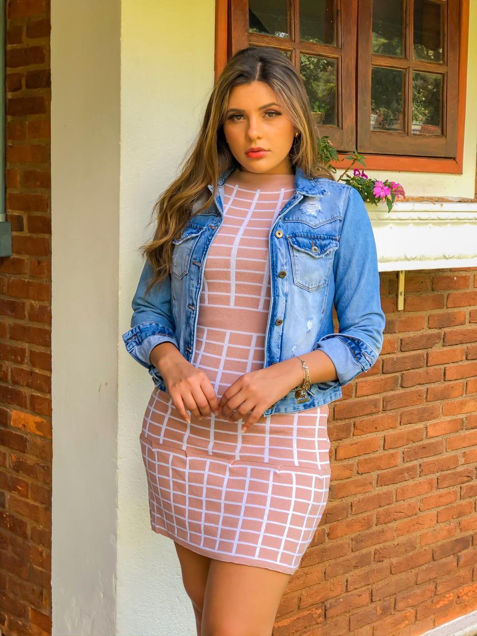 Vestido de modal 2 cores quadriculado