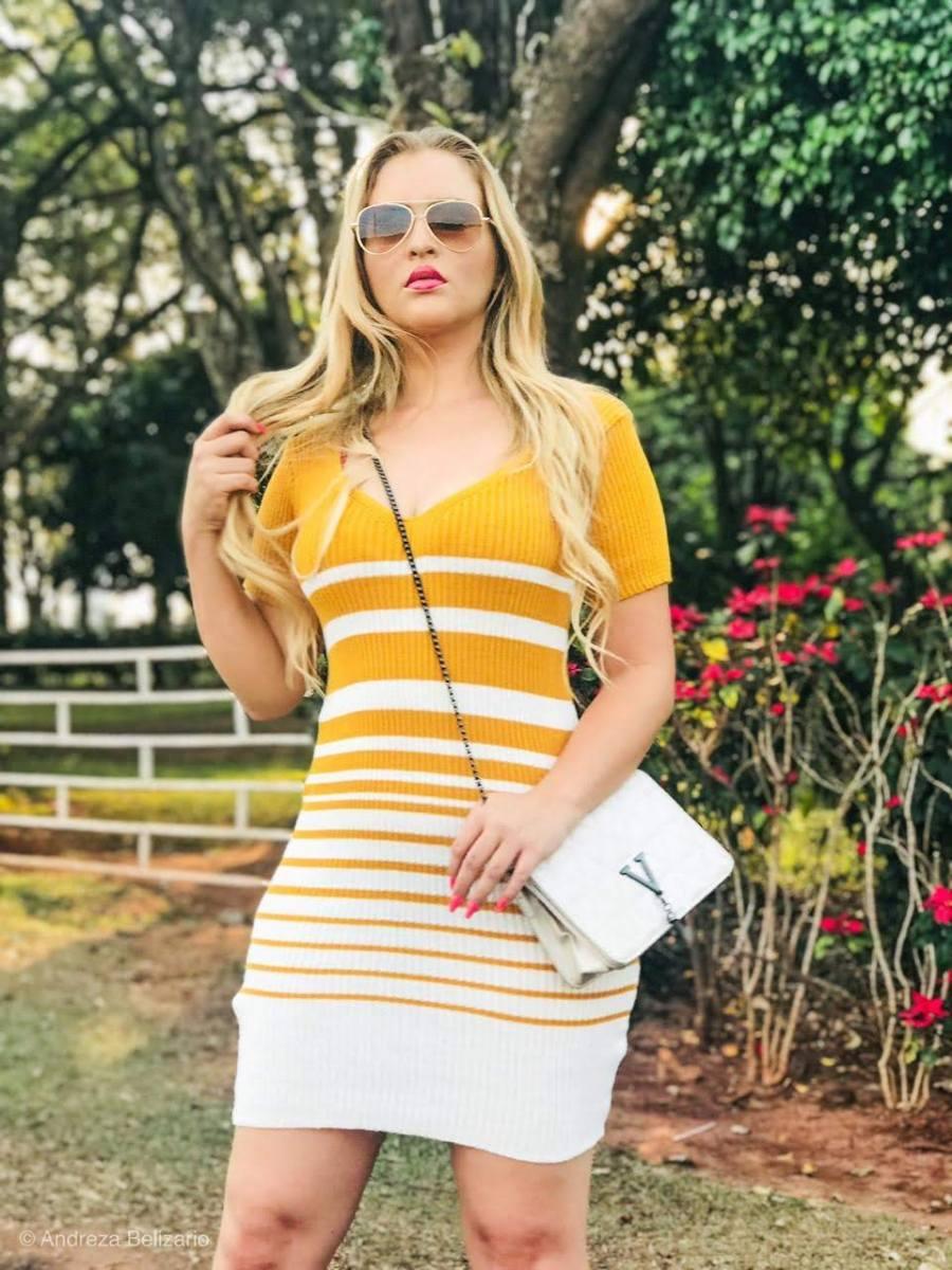 Vestido estilo modal de verão manga curta listrado