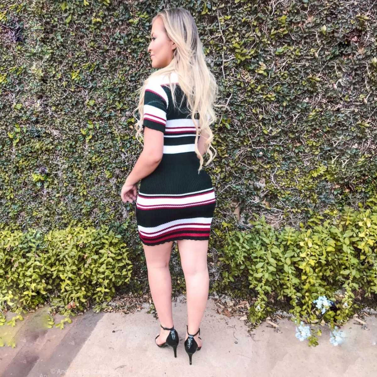 vestido estilo modal de verão manga curta listrado k04