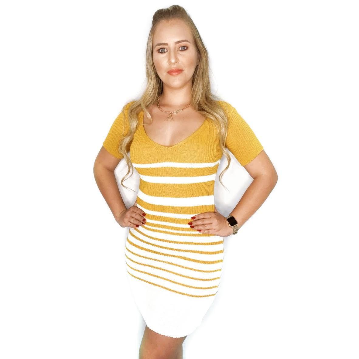 Vestido estilo modal de verão manga curta listrado  k491