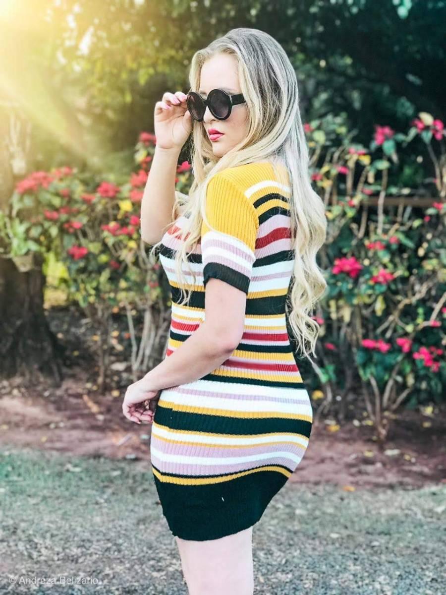 vestido estilo modal de verão manga curta listrado monte sião atacado