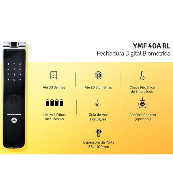 Fechadura Digital Yale Ymf 40A Rolete Biometria e Senha