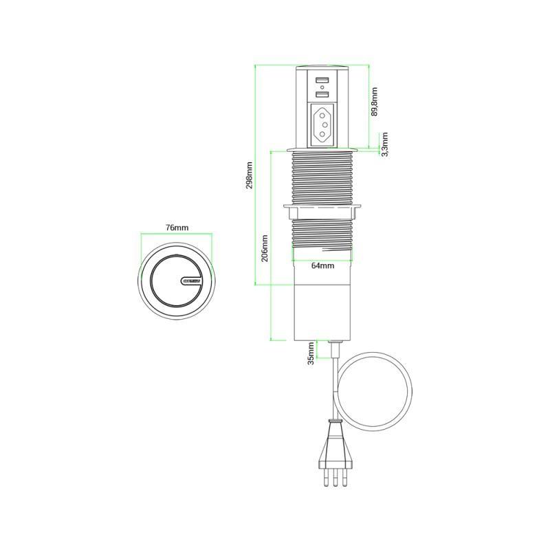 MINI TOTEM AUTOMATICO 1TOM+2USB BRANCO QM-12200.02