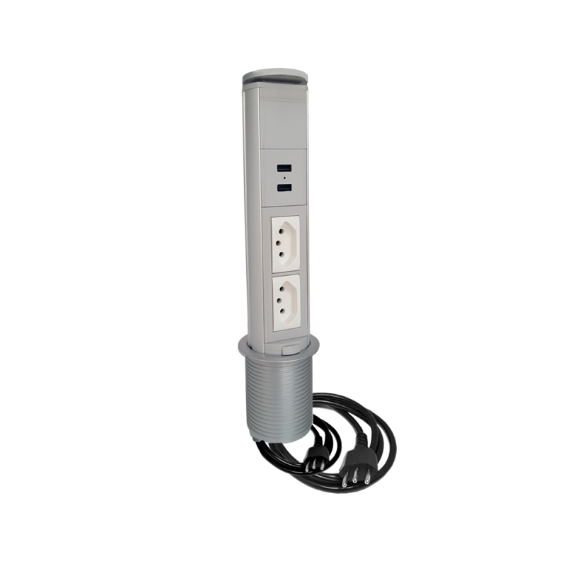 Torre de Tomada Manual 2 Elétricas 20A + 2 USB Charger Cinza - QTMov Pratik