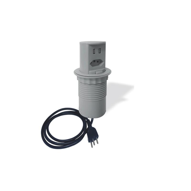 Torre de Tomada de Embutir Bancada Pia Cozinha Pop Manual 1 Elétrica 20A + 2 USB Cinza