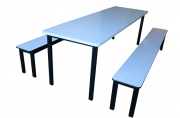 Conjunto de mesa + 2 Bancos sem encosto para refeitório infantil (formica)