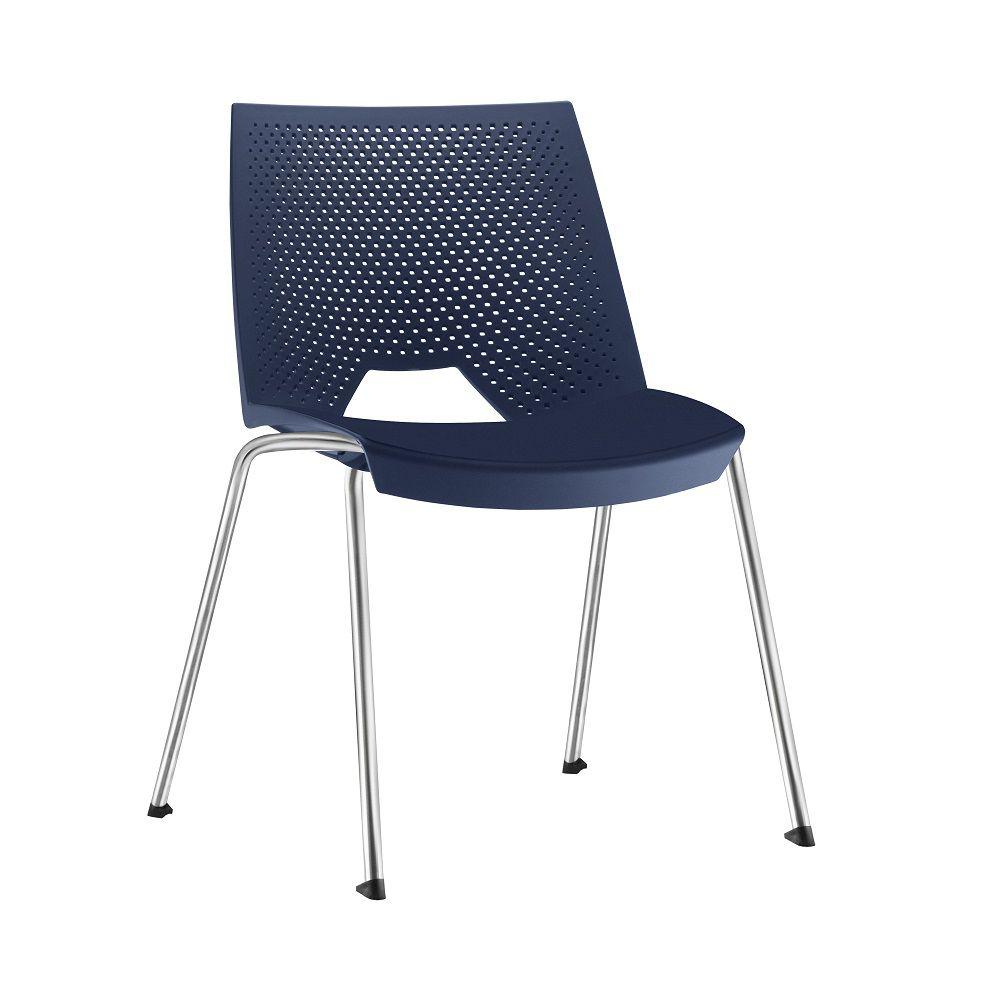 Cadeira Strike Polipropileno Base Fixa 4 Pés Cromada