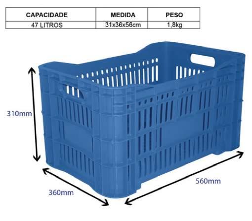 Caixa Plástica agrícola vazada - 46 litros