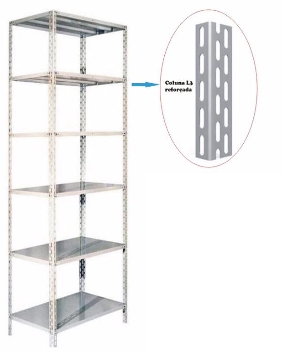 Coluna Para Estante Industrial L3 - 3 Mt - Ch 16 -14