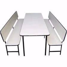 Conjunto de mesa + 2 Bancos com encosto para refeitório infantil (formica)
