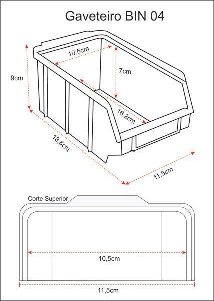 Estante caixa box organizadora para gavetas bin nº 4 com 104 Gavetas