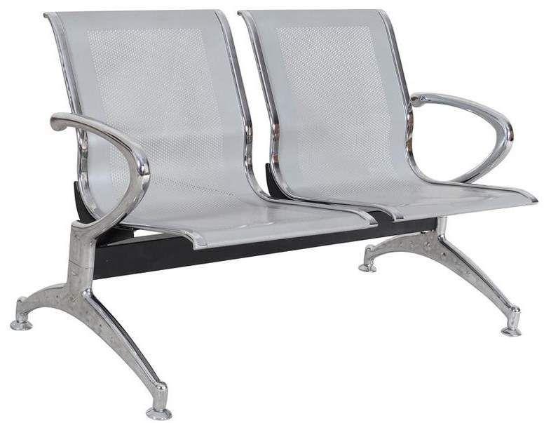 Longarina Metálica Inox Tipo Aeroporto 2 Lugares