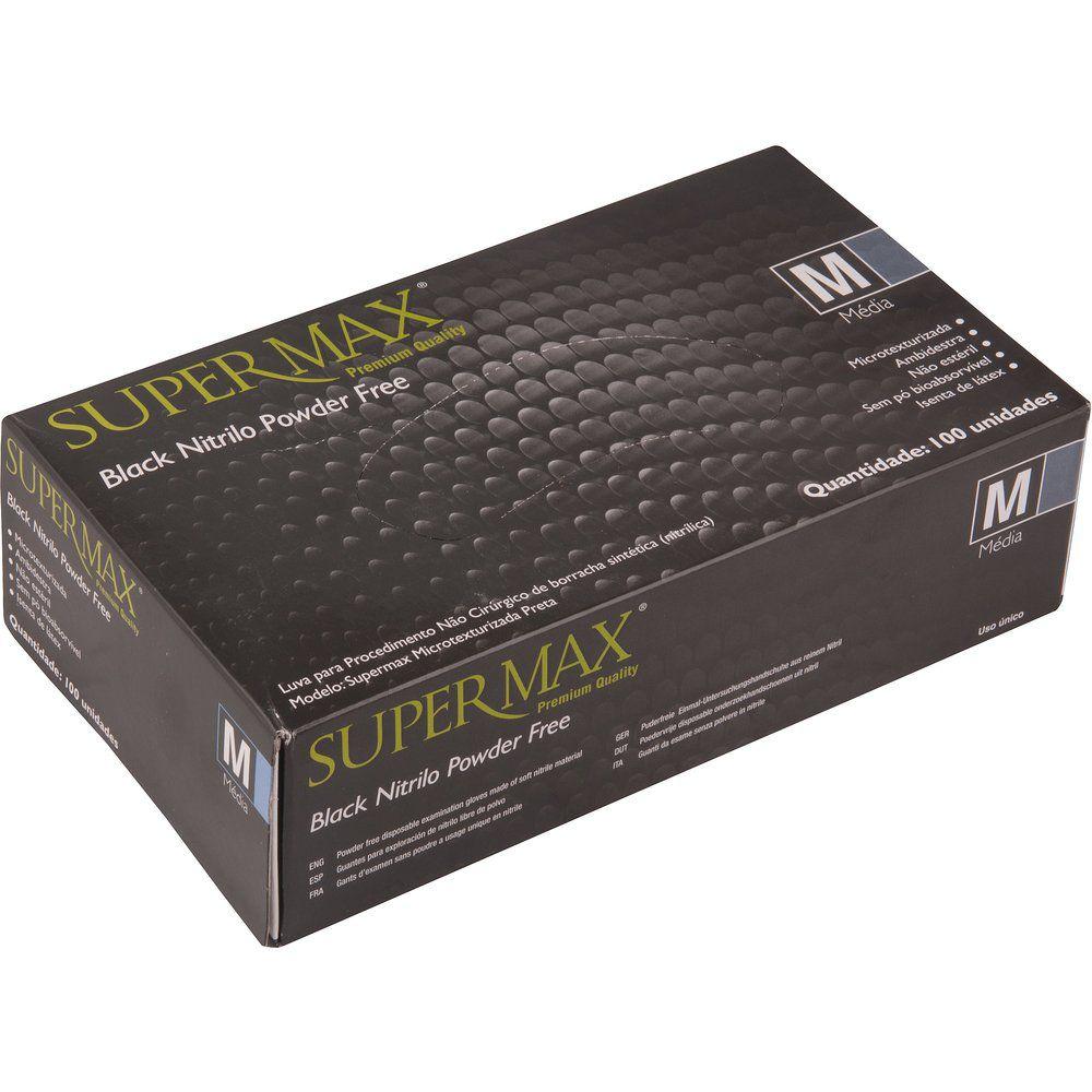 Luva para procedimento não cirúrgico sem pó – Borracha Sintética Supermax Powder Free Nitrilo Black