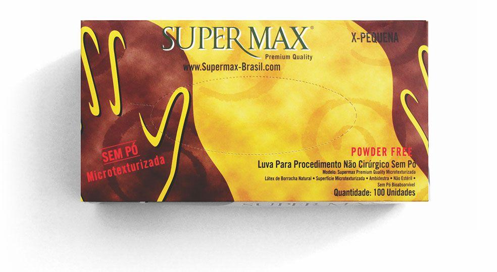 Luva para procedimento Não Cirúrgico sem pó – Látex Supermax Powder Free - Caixa com 100 Unid