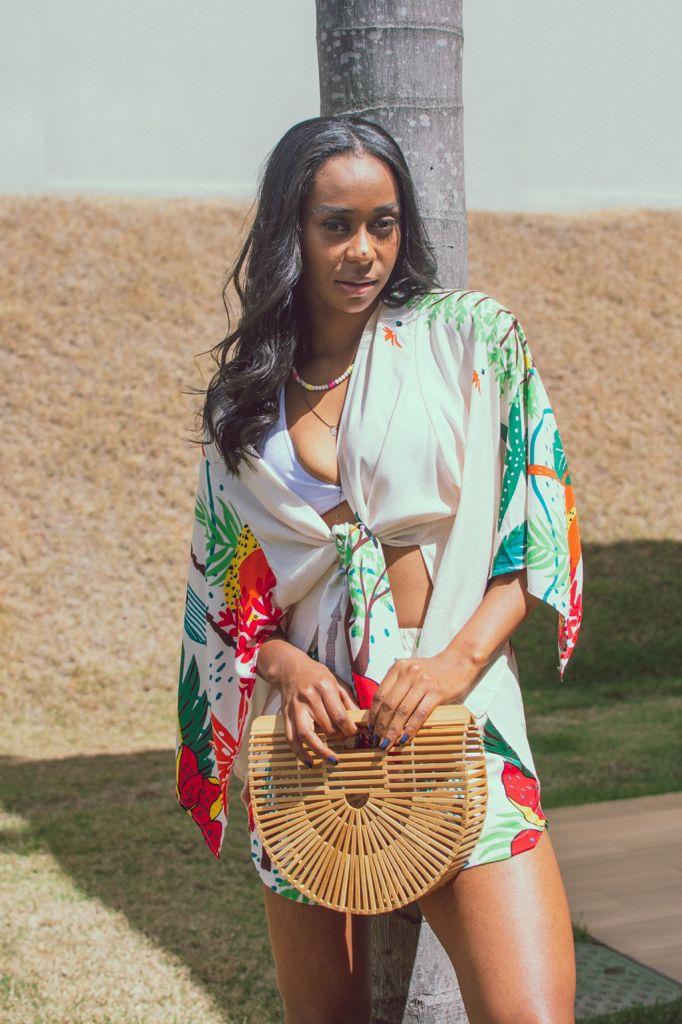 Conjunto de Viscose Short com Kimono Estampado