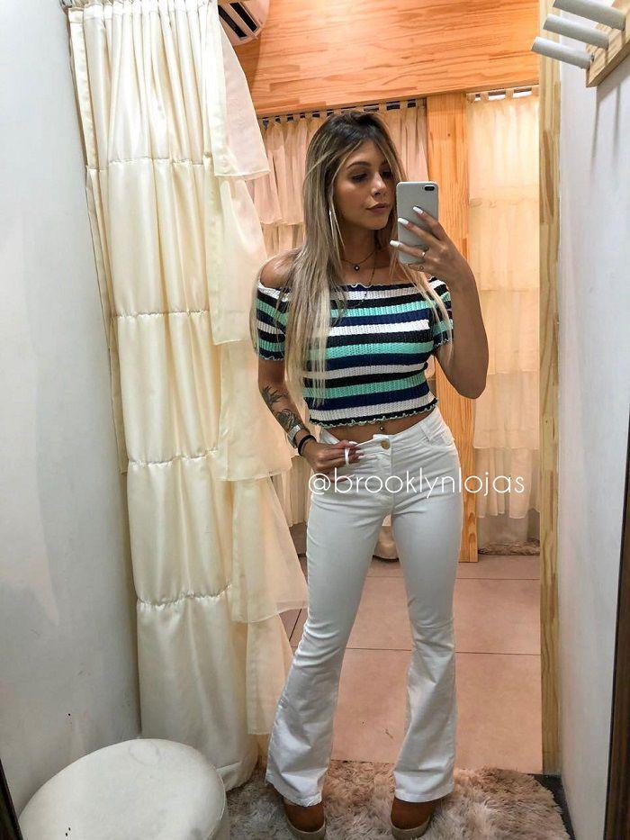 CROPPED CIGANINHA DE TRICÔ LISTRADO