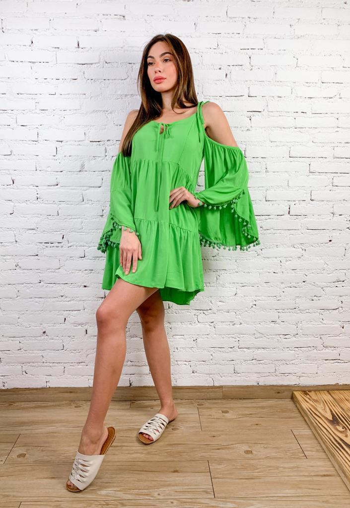 Vestido Bata de Viscose com Pompom