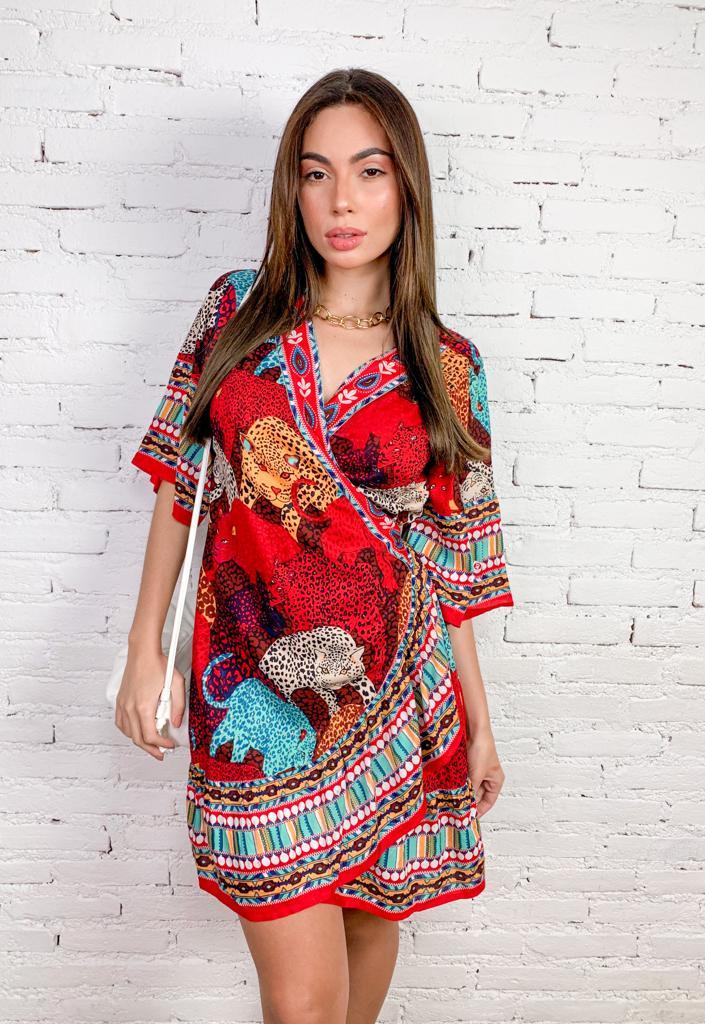 Vestido Curto Indiano Estampado