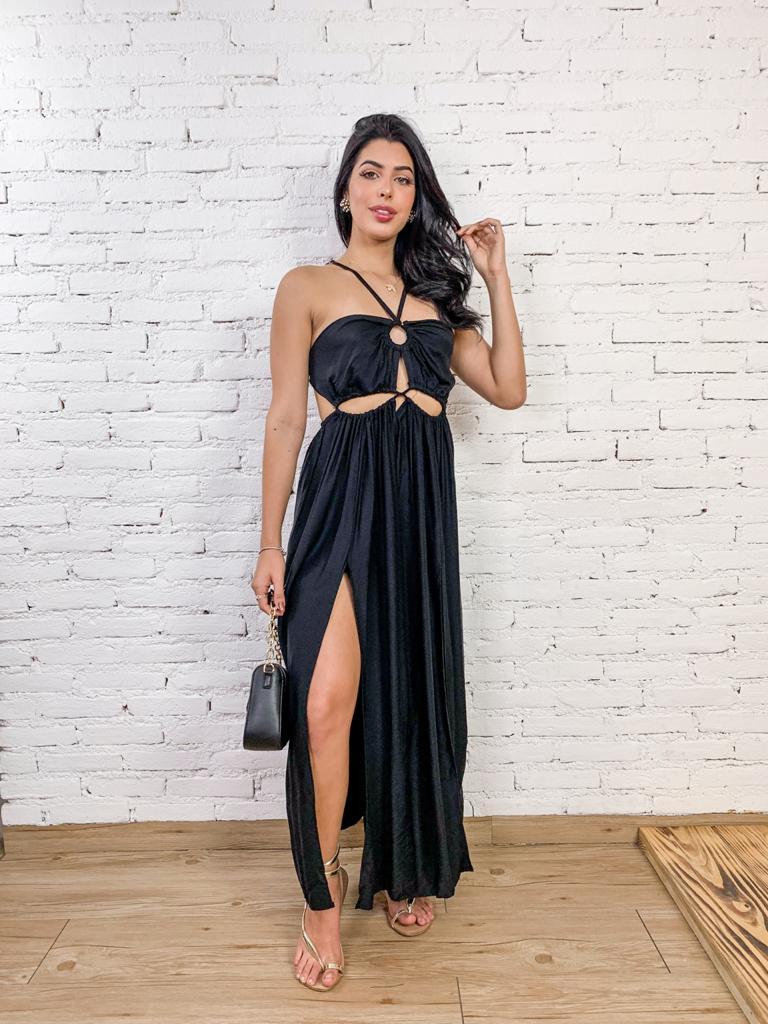 Vestido de Viscose de Alcinha com Fenda sem Bojo