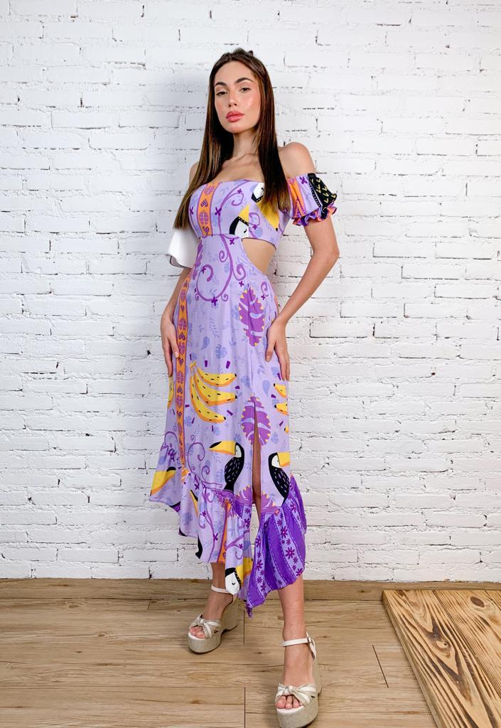 Vestido de Viscose Midi Estampado Modelo Ciganinha com Fenda