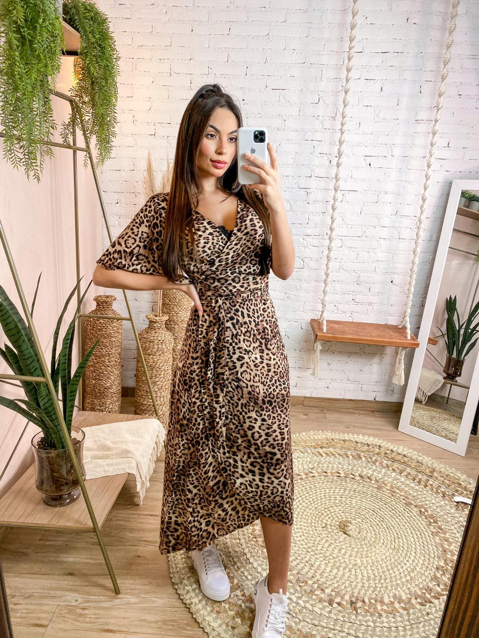 VESTIDO DE VISCOSE TRANSPASSADO ANIMAL PRINT