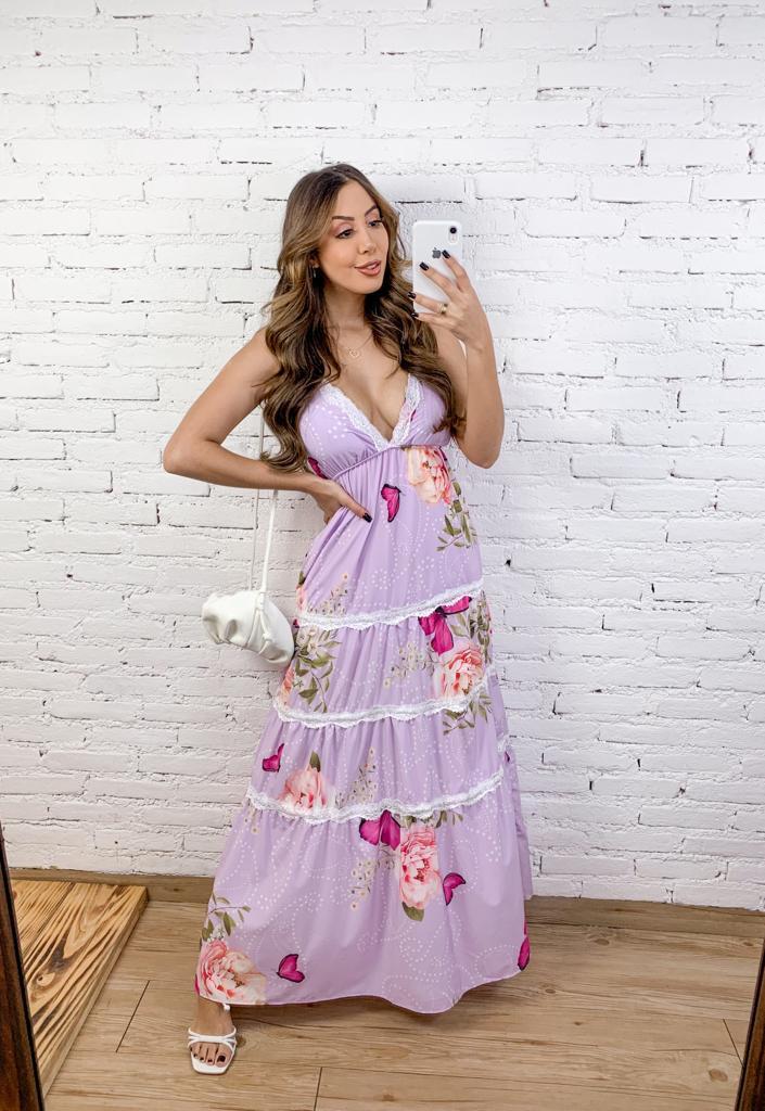 Vestido Longo de Viscose Floral com Bojo e detalhes de renda