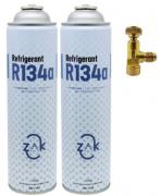 Kit 2x Gás Refigerant Zak 134a + 1x Válvula Perfuradora Acionadora Lata R134a