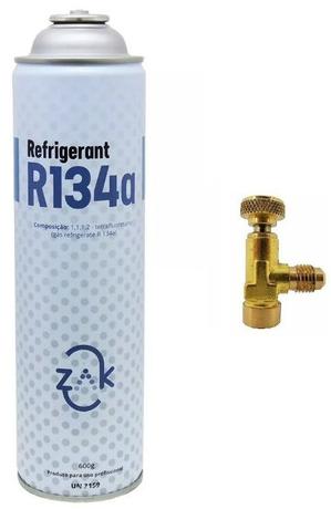 1x Gás Refigerant Zak 134a + 1x Válvula Perfuradora Lata R134a
