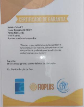 Cabo Pp Extensão 4 Vias X 1,5mm Rolo De 10 Metros
