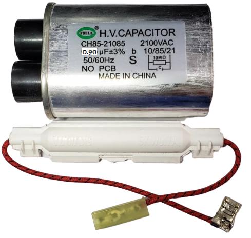 Capacitor 0,90 MF Terminal Fino + Fusível de Alta Tensão Para Microondas