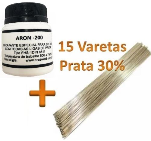 Kit 15 Varetas Solda Prata 30% + 01 Fluxo Solda Aron 200 80gr