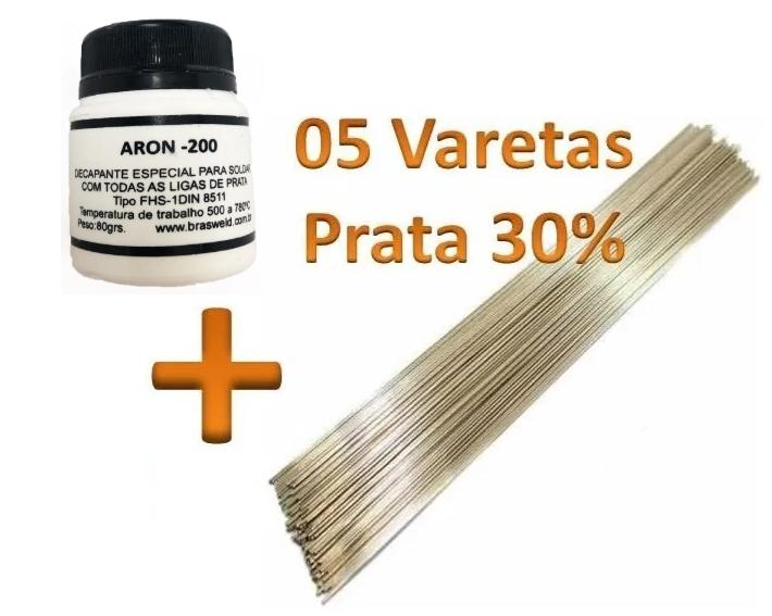 Kit 5 Varetas Solda Prata 30% + 01 Fluxo Solda Aron 200 80grs