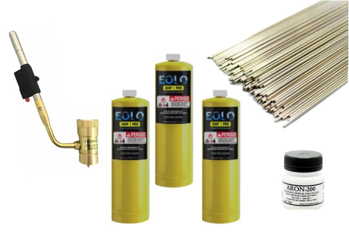 - Kit Para Solda Refrigeração C/ 15 Itens , Maçarico Portátil, Fluxo, Vareta & Refil