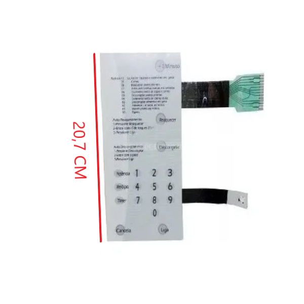 Membrana Painel Teclado Microondas Brastemp BMP42 Sem Dourador Branca