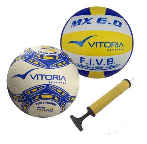 Bolas Futebol De Campo Pu + Volei 6.0 Pu + Bomba De Ar  - Vitoria Esportes