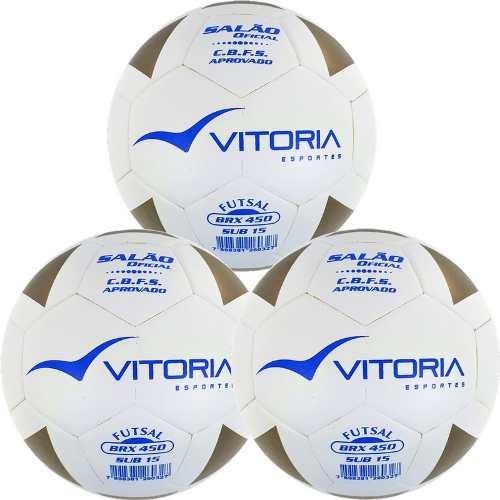 Kit 3 Bolas Futsal Vitoria Brx Max 450 Sub 15 (13 A 15 Anos)