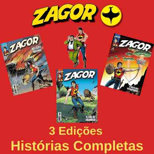 Kit Hq Gibi - Zagor 166, 167 E 168 - Histórias Completas  - Vitoria Esportes
