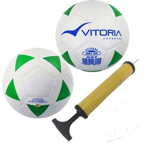 2 Bolas Futsal Vitoria Brx 50 Sub 9 (6 A 8 Anos) + Bomba Ar