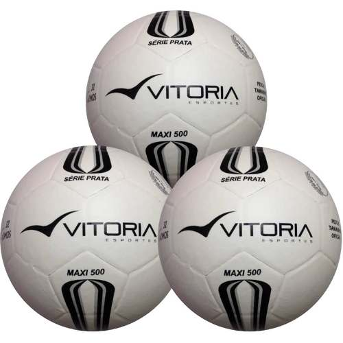 3 Bolas Futsal Vitoria Oficial Prata Max 100 Mirim Sub 11  - Vitoria Esportes