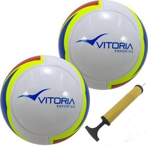 Bola Futsal Vitória Oficial 1000 Pu 2 Unidades + Bomba