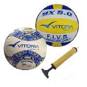 Bolas Futebol De Campo Pu + Volei 6.0 Pu + Bomba De Ar