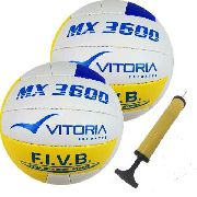 Bola Volei Oficial Vitoria Mx3600 Pu Soft 2 Unidades + Bomba