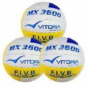 Bola Volei Oficial Vitoria Mx 3600 Pu Soft Leve 3 Unidades