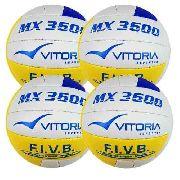 Bola Volei Oficial Vitoria Mx3600 Pu Soft Leve 4 Unidades