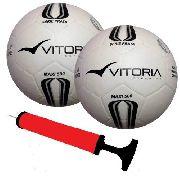 2 Bolas Futsal Vitoria Prata Max Top 500 + Bomba
