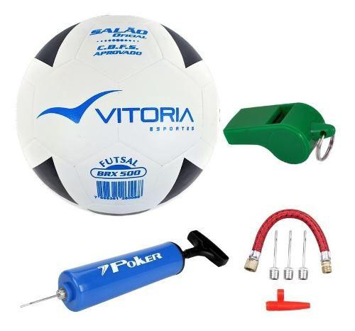 Kit Bola Futsal Vitória Oficial Brx Max 500 - Salão  - Vitoria Esportes