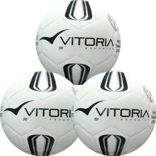 f106ba95d4 3 Bolas Futsal Vitoria Oficial Prata Max 50 Sub 9 - Vitoria Esportes