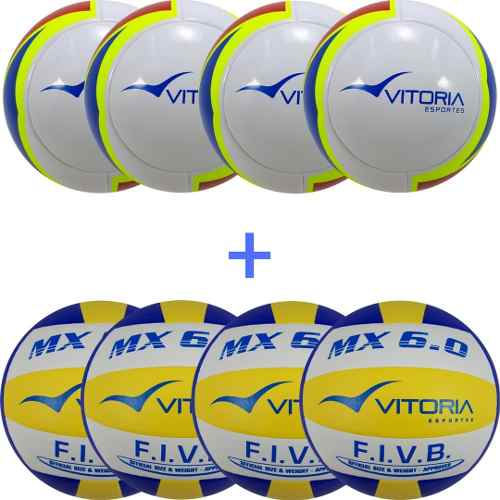 4 Bolas De Futsal Profissionais + 4 Bolas De Volei 6.0