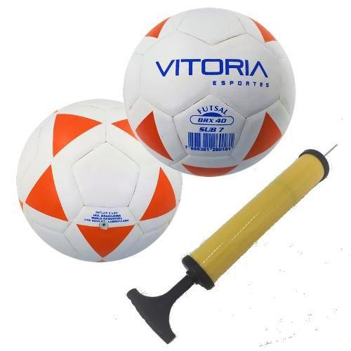 kit 2 Bolas Futsal Vitoria Brx 40 Sub 7 (3 A 6 Anos) + Bomba Ar  - Vitoria Esportes